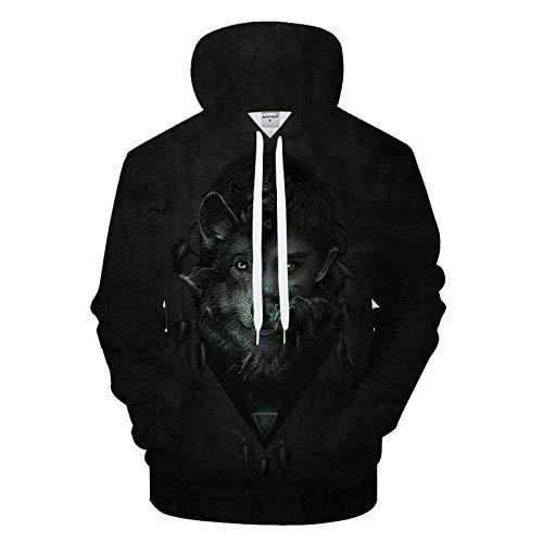 Atrapasueños de Lobo Negro Hombre Mujer Sudaderas con Capucha 3D Impresión Manga Larga Camiseta Hoodies Tops Suéter Deporte Capucha con Grandes Bolsillos,M