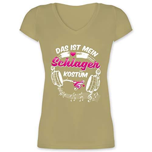 Kostüm Genre Musik - Karneval & Fasching - Das ist Mein Schlager Kostüm - XXL - Olivgrün - XO1525 - Damen T-Shirt mit V-Ausschnitt