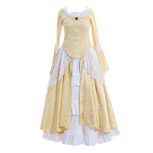 Cosplayitem Damen Mädchen Vintages viktorianisches Kleid Lolita Kleid Langer Rock Gelb