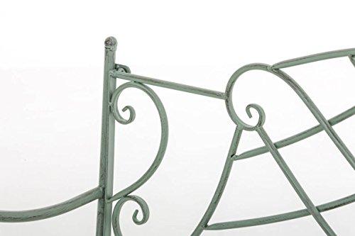 CLP Nostalige Metall-Gartenbank SELENA im Landhausstil, aus lackiertem Eisen, 109 x 43 cm – aus bis zu 6 Farben wählen Antik Grün - 4