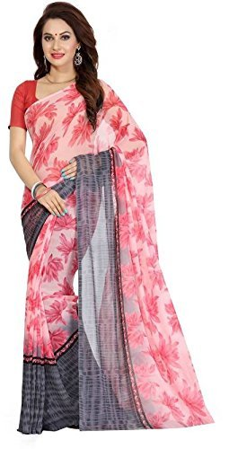 Sarees (Women's Clothing Saree For Women Latest Design Wear Sarees New Collection in PINK Coloured GEORGETTE Material Latest Saree With Designer Blouse Free Size Beautiful Bollywood Saree For Women Party Wear Offer Designer Sarees With Blouse Piece)  available at amazon for Rs.449