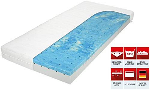 Matratzenheld 3D-Gelschaummatratze Herkules 100x200, medium - H2 bis 80 kg, ergonomische 7 Zonen Kaltschaummatratze Gelschaum RG50/ Kaltschaum RG40, Bezug waschbar 60° C, Allergiker geeignet, Made in Germany, H2 und H3 erhältlich - 3