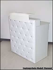 """Bureau design-modèle """"diamond""""-blanc - 100 cm/comptoir avec strass comptoir de réception count"""