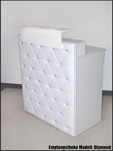 Design Empfangstheke Modell: 'Diamond White' WEISS 100cm - Theke mit...