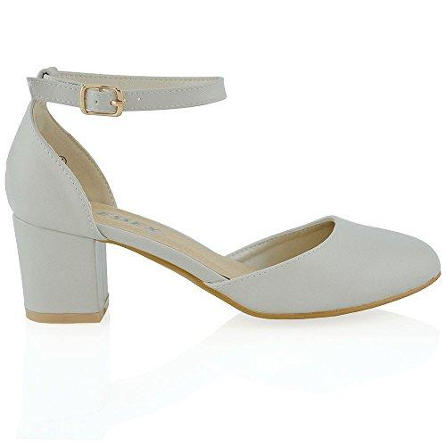 Nuovo Sandalo Donna Grigio Pelle sintetica Tacco a Blocco Medio-Basso Cinturino alla Caviglia Fibbia EU 38