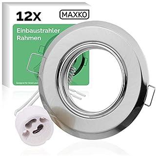 MAXKO 12x Einbaustrahler Rahmen mit GU10 Fassung für LED Leuchtmittel, schwenkbar – Einbauspot, Deckenstrahler, Deckenspot, Wandstrahler, Downlight LED