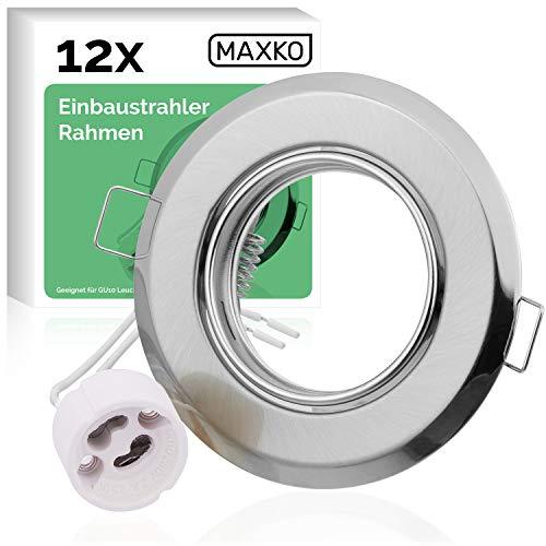 MAXKO Lot de 12 spots encastrables avec douille GU10 pour ampoule LED, orientable – 2 ans – Spot encastrable, plafond, spot mural, éclairage Downlight LED