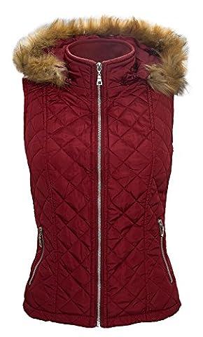 Damen Weste Stepp Jacke Steppweste Damenjacke Outdoor leicht gesteppt Kapuze mit Fell Kunstpelz S-XL D-52 [D-52 - Rot - Gr. L]