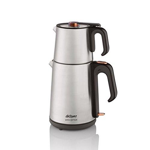 Arzum Cayci Heptaze Elektrische Teemaschine Teekocher Wasserkocher Teekanne Tee, Farbe:Silber