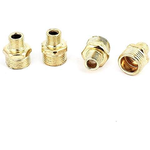 4 piezas Latón Dorado 0,95 cm x 2,03 cm Hex reducción prelubricados adaptador de conector