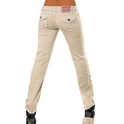 H922 Damen Bootcut Jeans Hose Damenjeans Hüftjeans Gerades Bein Dicke Naht Nähte, Größen:38 (M), Farben:Beige -