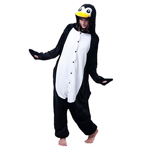 Kostüm Flanell - KiKa Monkey Einhorn Kostüm Pyjama Erwachsene Tier Jumpsuits Flanell Nachtwäsche Karnevals Cosplay kostüme (L, Pinguin)