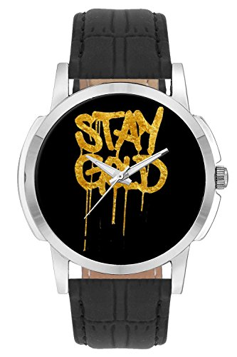 Wrist Watch - Stay Gold Illustration Analog Men's and Boy's Wrist Watch - Unique Analog Quartz Leather Band Wrist Watch by BigOwl