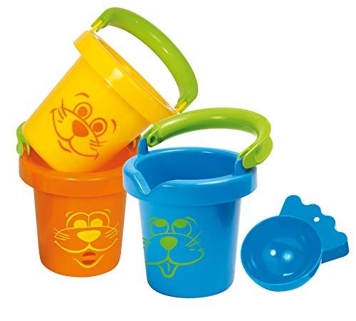 Gowi 558-12 Lustige Baby Eimer, 3teilig, im Netz, Wasserspielzeug
