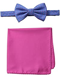 Steve Harvey Men's Neat Woven Bowtie and Solid Pocket Square