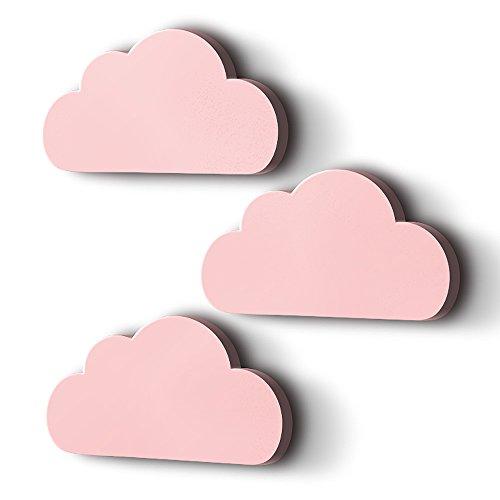 luvel (M6) - 3er Set XXL Wolken mit 3D-Effekt als Kinderzimmer Deko Wandtattoo Kinderzimmer 30x15 cm 5mm Kunststoff (rosa)