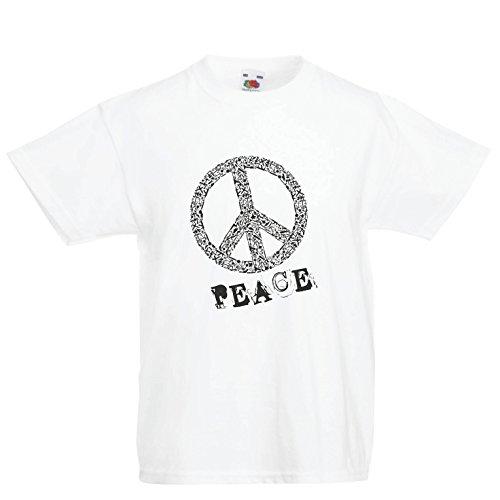 Kinder Jungen/Mädchen T-Shirt FRIEDENSsymbol - 1960er Jahre 1970er Jahre Hippie Hippie, Street-Kleidung, Friedenszeichen, Sommer Festival Hipster Swag (3-4 Years Weiß Mehrfarben)