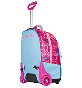 BIG TROLLEY DISNEY - PRINCESS LOYAL HEARTS - 2in1 Wheeled Backpack with Disappearing Shoulder Straps - Rosa Azzurro31Lt by Seven