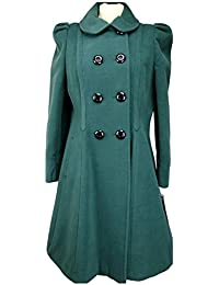 Womens Double Breasted Long Coat Wool Touch Fit And Flare Ladies Winter Coat With Inside Lining