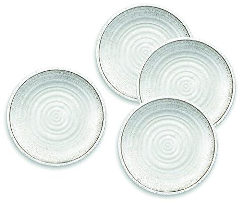 Blanc naturel Couleur pierre–Artisan Assiette en mélamine pique-nique/barbecue/buffet extérieur Assiette plate–Lot de 4–26.5cm