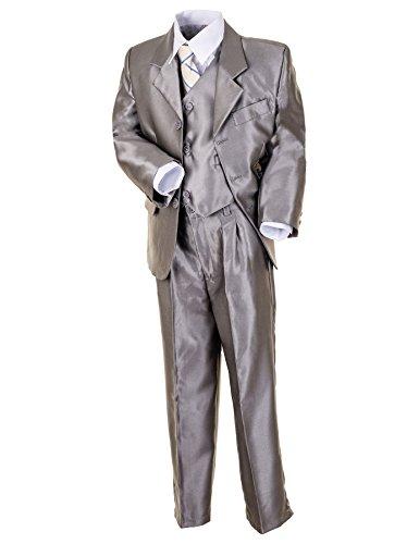 freshdress24 Kinder Anzug Luis Edel & Top modern! 5-TLG. in grau-glänzend od. beige-glänzend! Sakko, Weste, Hose, Hemd u. Krawatte. (Gr. (2) - 98/104, grau-glänzend)