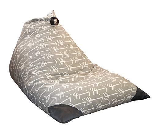 MiniOwls Spielzeug Aufbewahrung Sitzsack-Cover-passend für 100l/26gal-Stofftier Organizer in grau-Groß, weich und bequem, der schafft Cozy Liege Bett-3% Spende zu Autismus Foundation.