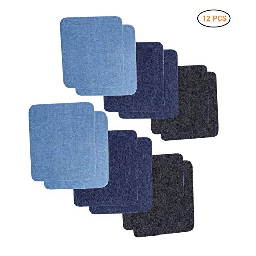 Lispeed Patches Zum aufbügeln, 12pcs Denim Baumwolle Patches Bügeleisen Reparatursatz Aufbügelflicken Bügelflicken Jeans Flicken Aufbügeln Patch Sticker für Jeans Kleidung DIY Taschen