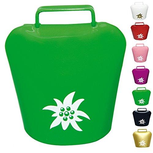 �� weißer Edelweiß Aufdruck ✓ Magnet - ultra stark in schickem Allgäu Motiv ✓ Glocke   Blickfang   Super für die Magnetwand oder Kühlschrank   hält 10 DIN A4 Seiten (Grün) ()