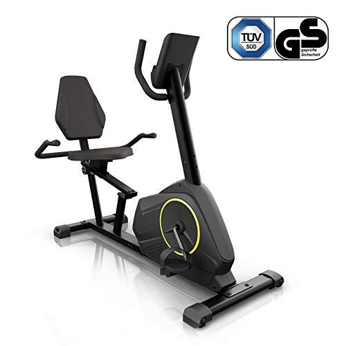 Klarfit Epsylon Relax Fahrrad-Heimtrainer - Riemenantrieb mit SilentBelt System, 12 kg Schwungmasse, HiLevel-Widerstand in 24 Stufen, MagResist-Funktion, Tablet-Halterung, TÜV-geprüft, schwarz