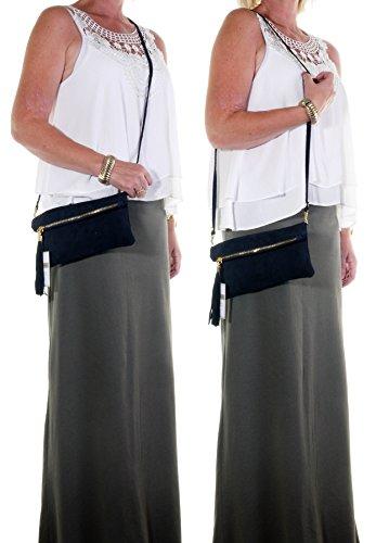 Italiano camoscio cuoio Fold Over frizione, polso o borsa a tracolla.Include una custodia protettiva marca. Nero