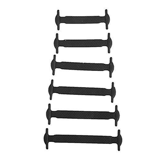 Preisvergleich Produktbild DDOQ Kinder Schnürsenkel aus Silikon,  elastisch,  ohne Schnürsenkel,  12 Stück (schwarz)