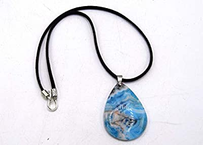 EthnicFeather - Collier pendentif goutte en pierre d'agate bleu, bijoux amulette, protection pierre turquoise, bijoux Reiki Chakra,