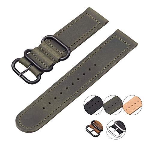wasserdichte Zwei Teile aus echtem Leder Uhrenarmband Handgemachte Natur Armbanduhren Lederarmbanduhren 20mm 22mm Uhrband 24mm Uhrenarmbänder mit Henziy-Uhrenarmband-Strap7565 Handnaht (Seite Mesh-einsatz)