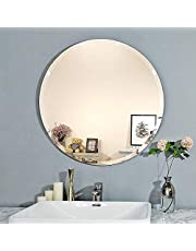 Creative Arts n Frames Elegant Round Frame Less Beveled Mirror for Dressing, Bedroom,Bathroom, Living Room (12x12) (1, 12x12)