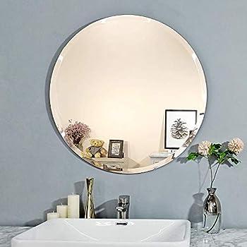 Creative Arts n Frames Elegant Round Frame Less Beveled Mirror for Dressing, Bedroom,Bathroom, Living Room (12x12) (1, 12x12)