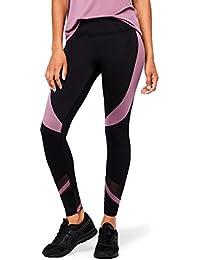 Marque Amazon - AURIQUE Legging de Sport Bicolore Taille Haute Femme