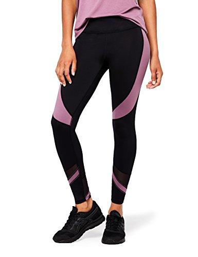 AURIQUE Damen Sport Leggings mit hohem Bund und Colour-Block-Design, Gr. W36(Herstellergröße: S), Schwarz (Black/Purple Gumdrop)