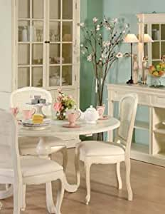 Nouvelle Cream Round Dining Table - Color: White: Amazon ...
