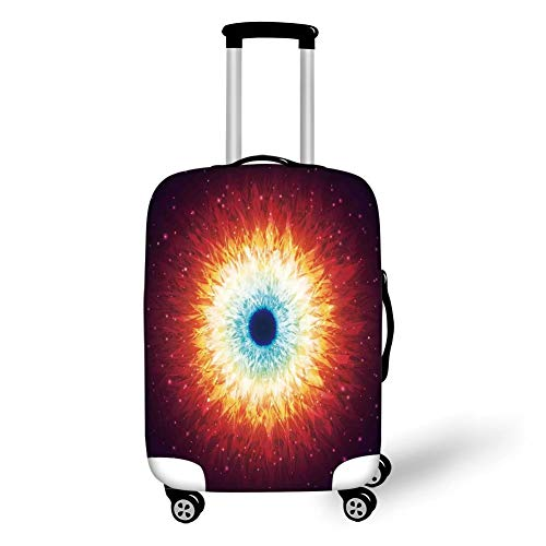Travel Luggage Cover Suitcase Protector,Space,Galaxy with Stars and Black Mysterious Celestial Magic Astral Universe View,Orange Blue,for Travel S -