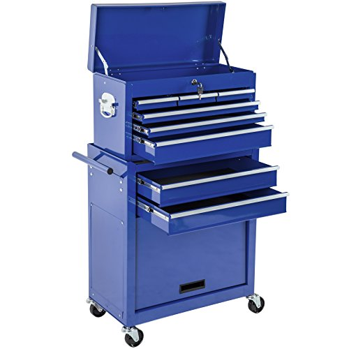 TecTake Werkzeugwagen Werkstattwagen blau | verschließbare Schubfächer | Kugelgelagerte...