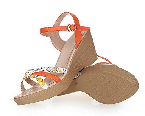 Demen L@YC Frauen keil Sandalen Sommer bequeme Leder lässig dicke High Heels Pink