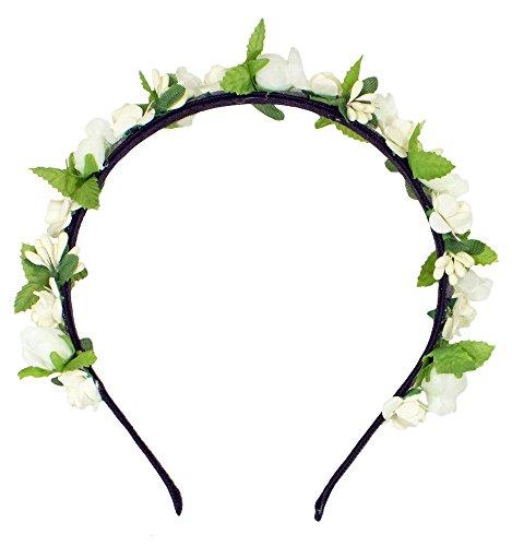 Blumen Haarreif Liliana mit Rosen - Creme Weiß