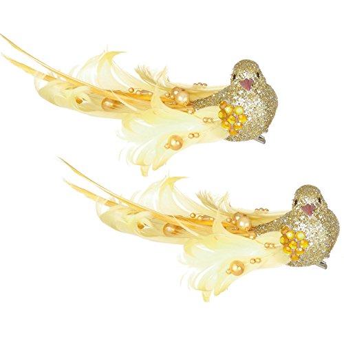 Weihnachtsdekoration mit goldfarbenen Vögeln mit Federn auf Clips, 16 cm, 2er-Packung, von Premier