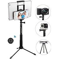 Stick Selfie, GRANDO Clip 2 in 1 Monopiede Nero Estensibile Con Telecomando Bluetooth e Treppiede Per Tablet, Apple, Android e Fotocamere