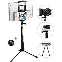 Palo de Selfie, GRANDO Clip 2 en 1 Monopod Extendible con mando a distancia y trípode para Tablet, Apple, Android y Cámaras Negro