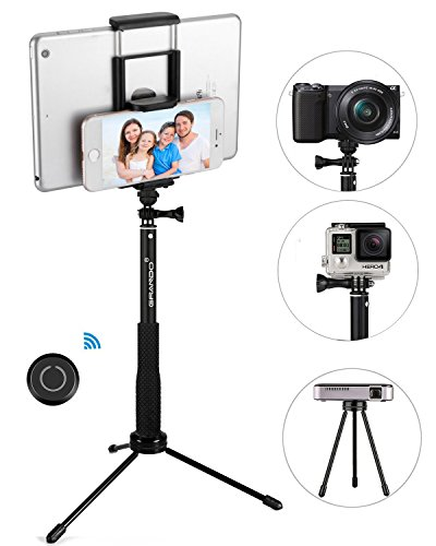 Stick Selfie, GRANDO Clip 2 in 1 Monopiede Nero Estensibile Con Telecomando Bluetooth e Treppiede Per Tablet, Apple, Android e Fotocamere
