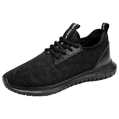 BHYDRY Sneaker Donna Moda Solido Coppia Traspirante Lace up Uomini Sport Scarpe da Corsa Sneakers(45 EU,Nero)