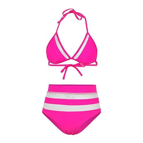 DIPOLA Sexy Zweiteiliger Bikini mit hoher Taille und Mesh-Nähten für Frauen Zweiteiliger Bikini mit hoher Taille und gefülltem Badeanzug aus solidem Patchwork-Mesh sexy Bikini sexy top Swimsuits -