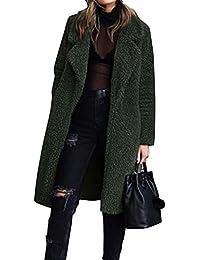 Manteau Femme Fille Epais Hiver Zippé Manches Longues Fourrure Artificielle  Chaud à Revers Gilet Trenche Veste 5db1576e16b1