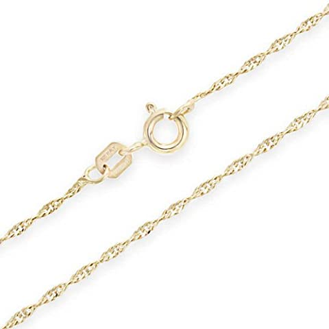 Gold Plated 20 Gauge Singapore Chain Sterling Silver Italy